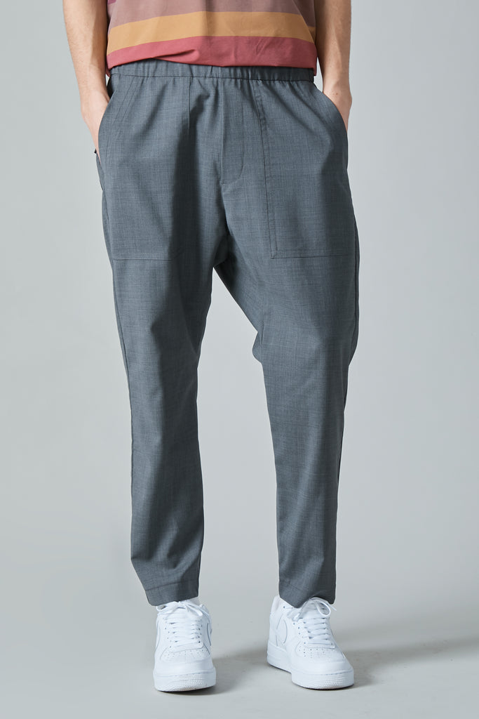 TRABACO TELA SUMMER WOOL EASY FATIGUE PANTS - CENERE