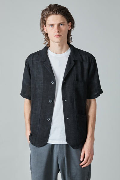 BOTA DATOLO LINEN CAMP SHIRT - NERO