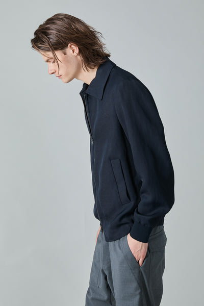 OLIVO DOBOTO VISCOSE TWILL JACKET - NAVY