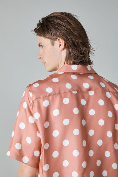 100% SILK DOT RANGI SHIRT - ROSE