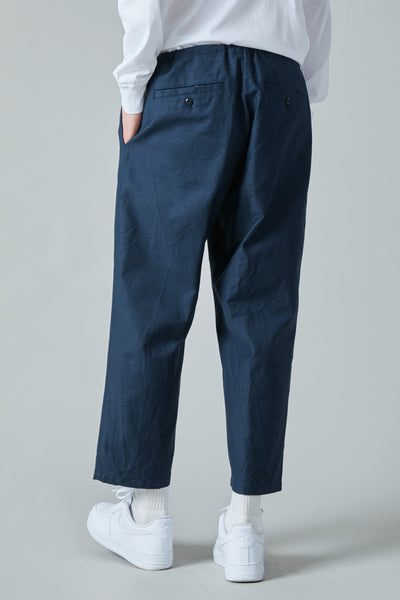 SULFUR DYE BACK SATIN COTTON DRAWSTRING PANTS - NAVY