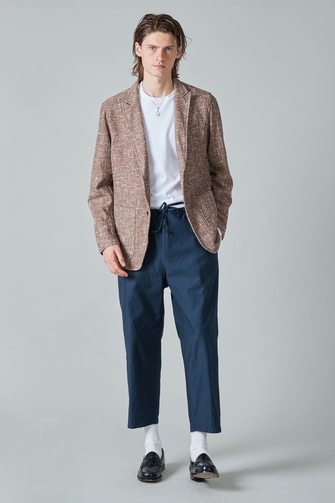 SUMMER COTTON TWEED 2B PEAK LAPEL JACKET - BROWN