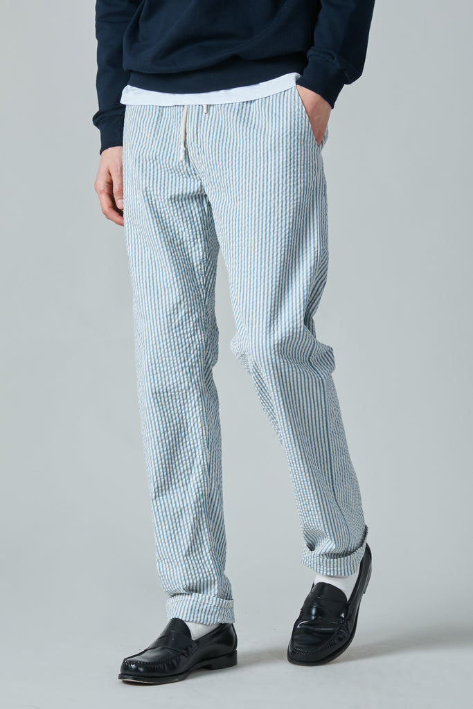 JAPANESE SEERSUCKER TRIPOLI TROUSER - WHITE/BLUE