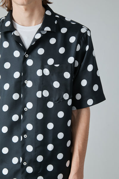 100% SILK DOT RANGI SHIRT - BLACK