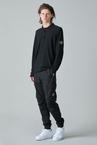 549A9 EXTRA TWISTED COTTON KNIT POLO - BLACK