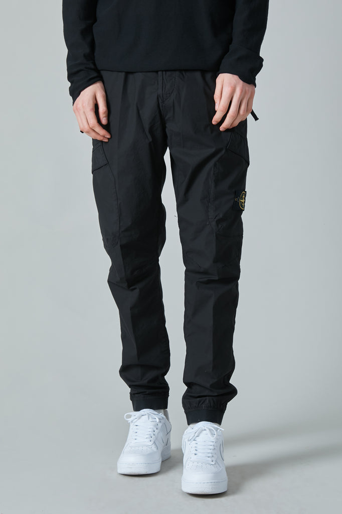 32203 STRETCH COTTON TELA PARACADUTE CARGO PANT - BLACK