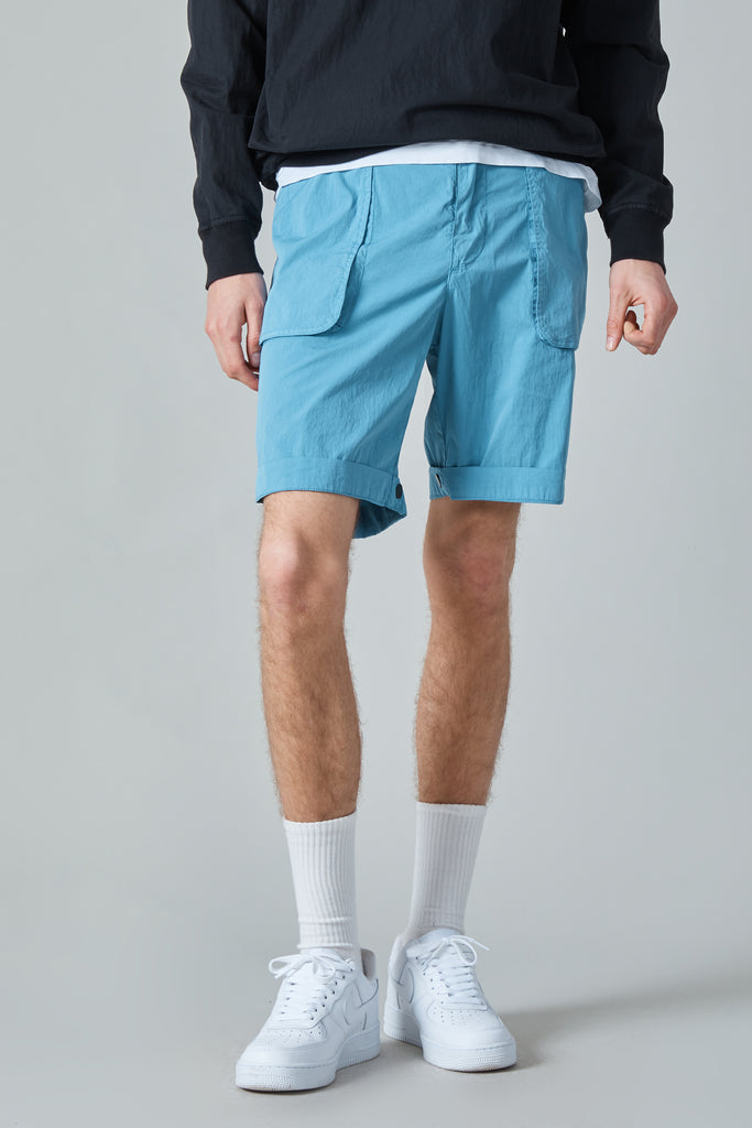 POPLIN COTTON NYLON WURKJE BERMUDA SHORTS - SKY