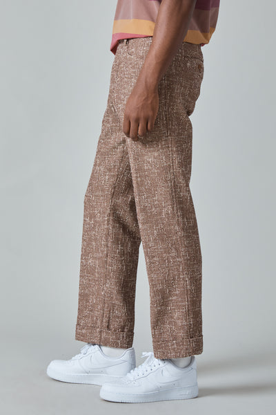 SUMMER COTTON TWEED L POCKET PANTS - BROWN
