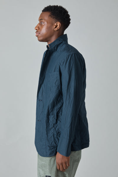 COTTON SILK MICRO FAILLE 3 PATCH POCKET JACKET - NAVY