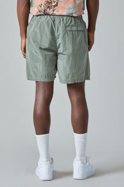 B0943 NYLON METAL GARMENT DYED SHORTS - SAGE