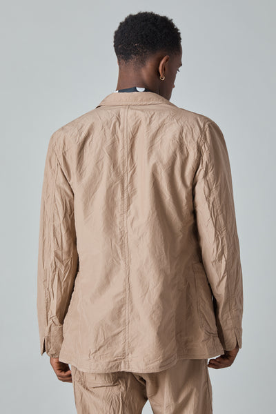 COTTON SILK MICRO FAILLE 3 PATCH POCKET JACKET - MOCHA