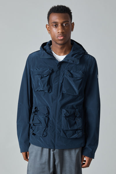 TECH NYLON TAFFETA HOODED JACKET - NAVY