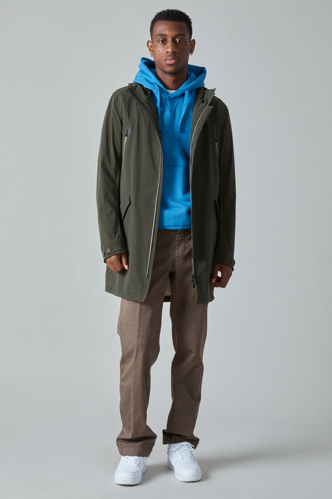 COTTON POLY FISHTAIL RAINCOAT - OLIVE