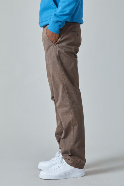 GARMENT DYED TEXTILE PRINT COTTON MILITARY PANTS - BROWN