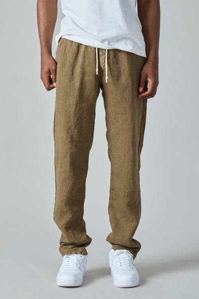 COMPACT LINEN TRIPOLI TROUSER - MILITARY GREEN