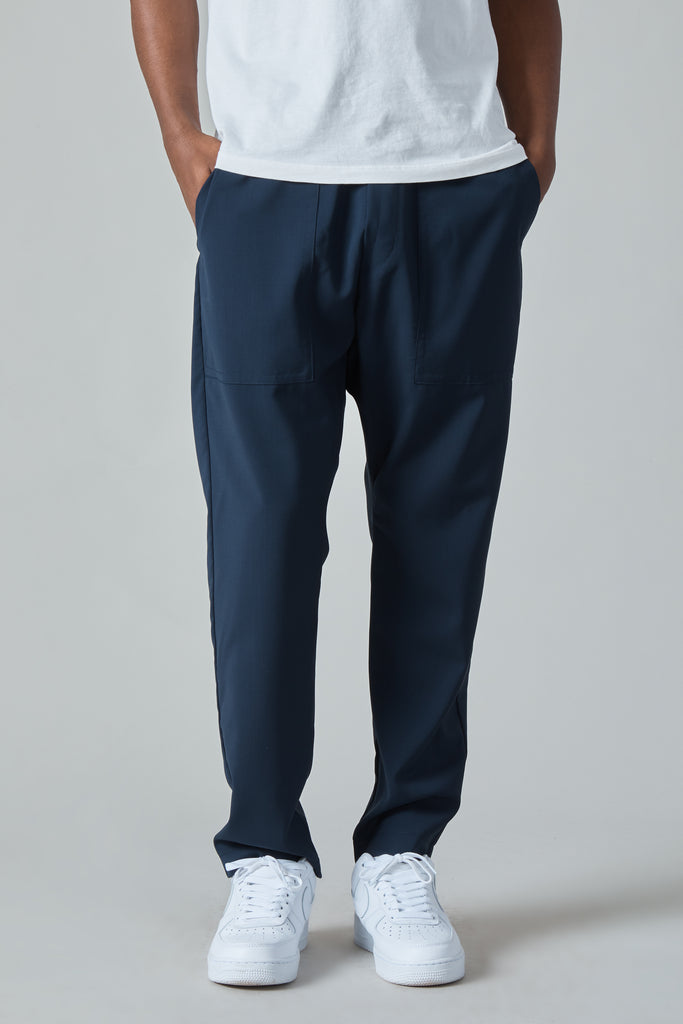 TRABACO TELA SUMMER WOOL EASY FATIGUE PANTS - NAVY