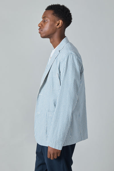 JAPANESE SEERSUCKER LIAM BLAZER - WHITE/BLUE