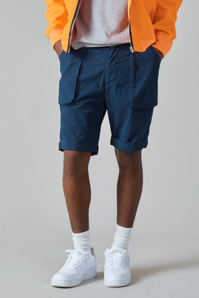 POPLIN COTTON NYLON WURKJE BERMUDA SHORTS - NAVY