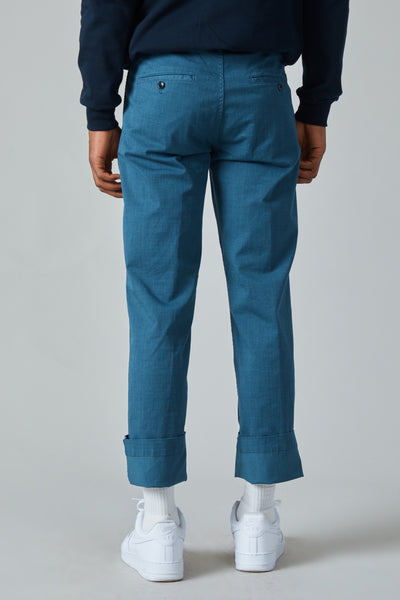 GARMENT DYED TEXTILE PRINT COTTON MILITARY PANTS - BLUE