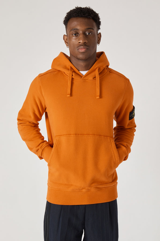 62820 COTTON FLEECE GARMENT DYED HOODY - ORANGE