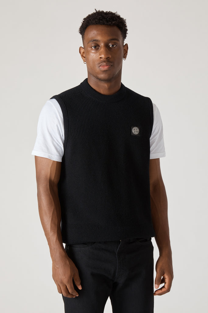 583A1 STRETCH WOOL RIBBED KNIT VEST - BLACK