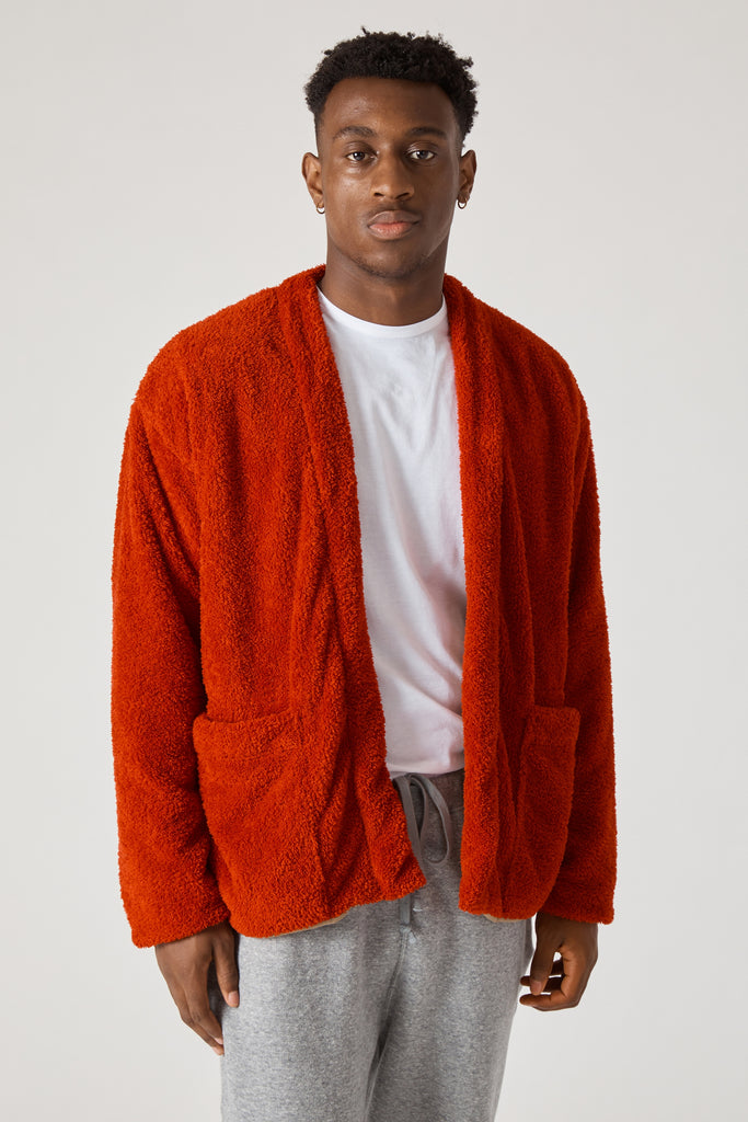 FLUFFY POLYESTER FLEECE LINED EASY CARDIGAN - RED