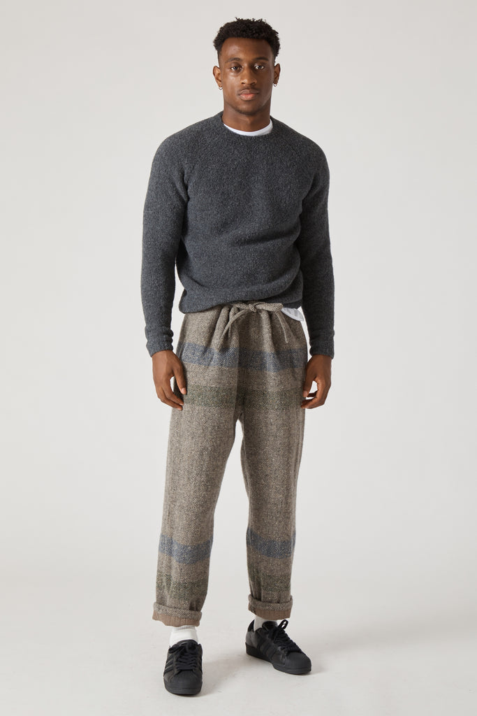 BORDER STRIPE WOOL COTTON DRAWSTRING PANTS - GRAY