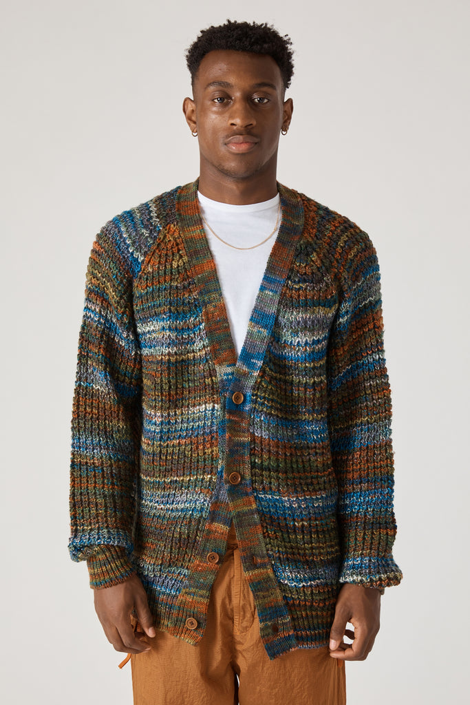 WOOL ACRYLIC MULTICOLOR KNIT CARDIGAN - MULTICOLOR