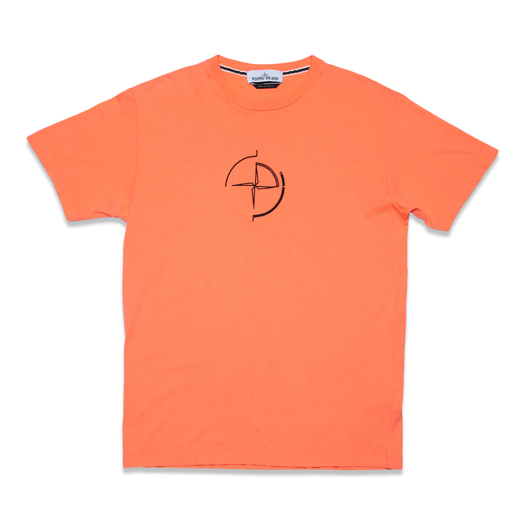 2Ns89 Cotton Jersey '30/1' Data Scan Print Garment Dyed T-Shirt - Orange Red