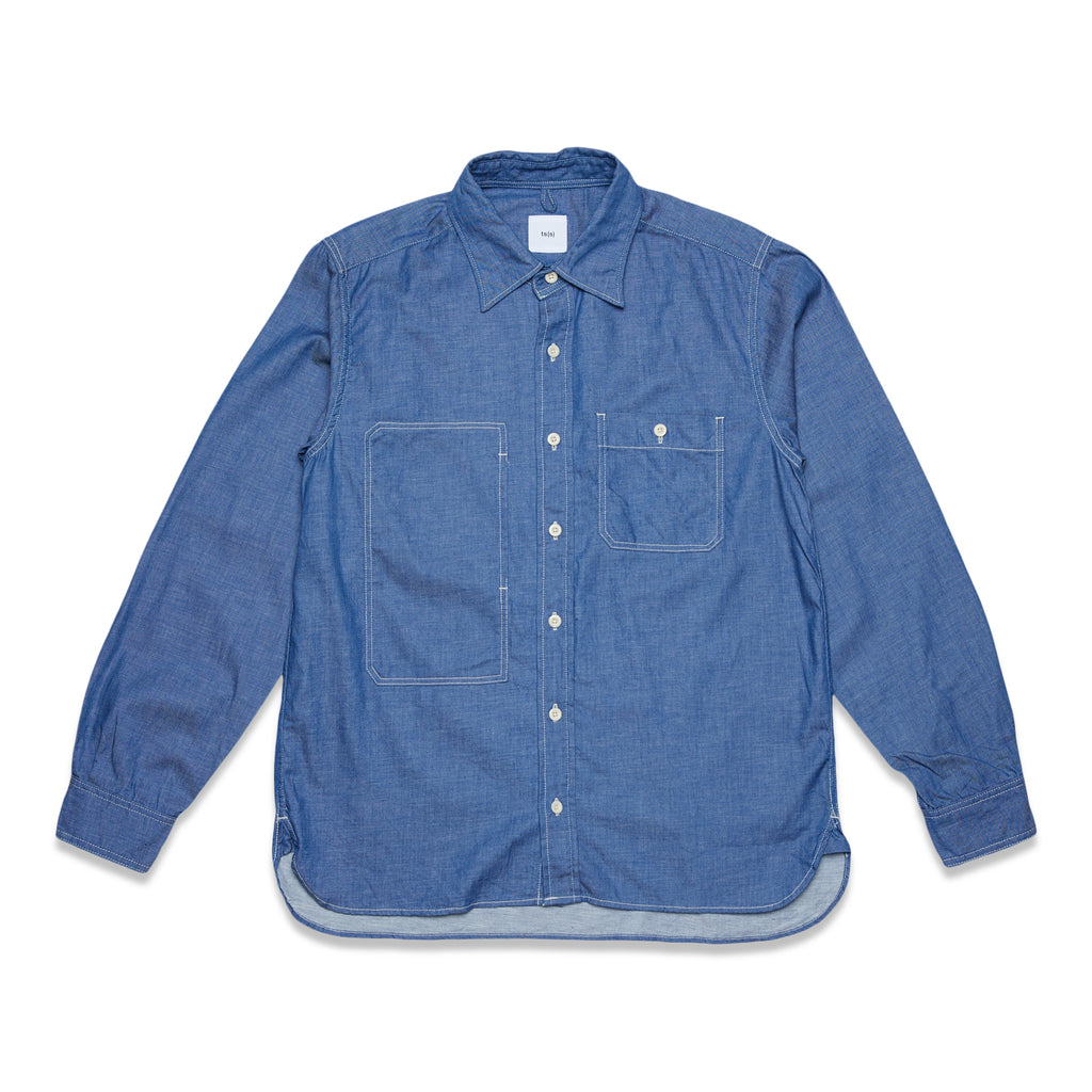 6OZ SLUB DENIM ASYMMETRIC POCKET WORK SHIRT - BLUE