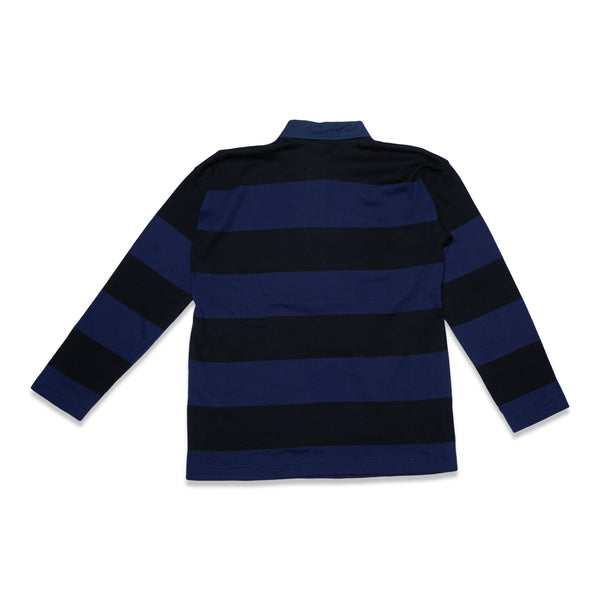 Extra Soft Twistless Yarn Knit Stripe Rugby Shirt - Navy