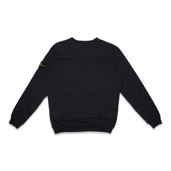 61953 Heavy Cotton Jersey +Mussola Gommata Garment Dyed Sweatshirt - Black