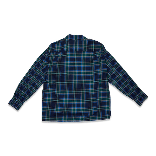 Tartan Plaid Cotton Viscose Baggy Shirt - Navy
