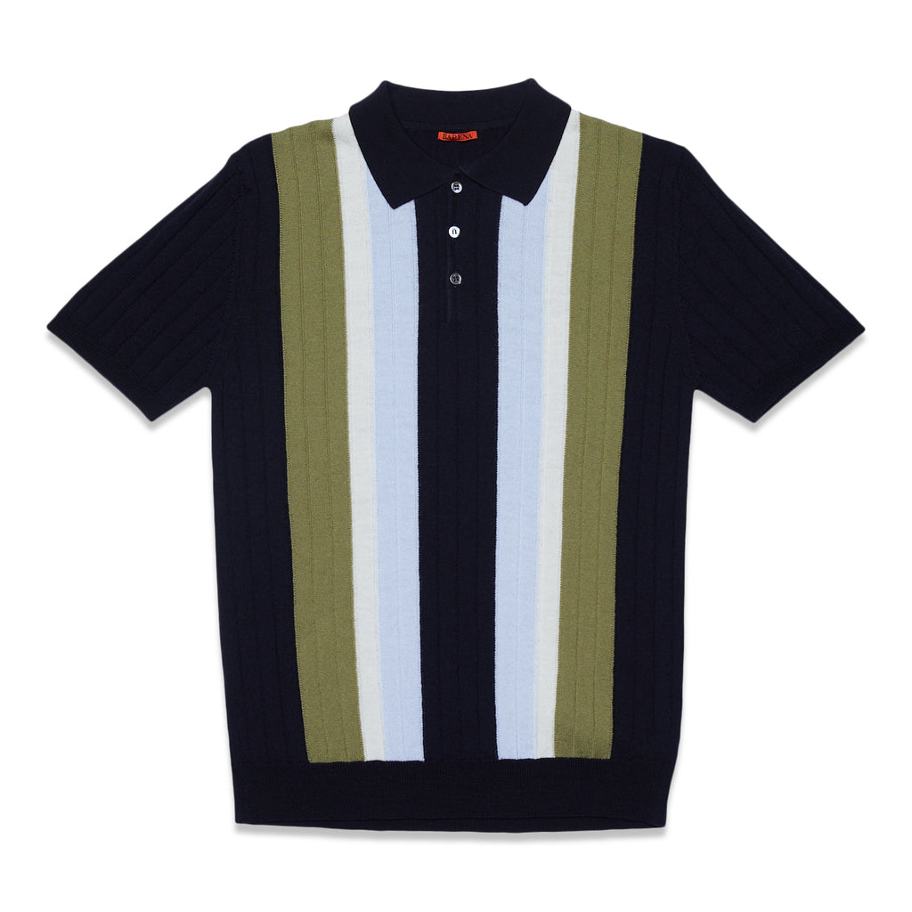 MARCO TOLIN KNIT POLO - NAVY