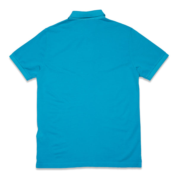 22S67 COTTON PIQUE GARMENT+PIGMENT DYE POLO SHIRT - TURQUOISE