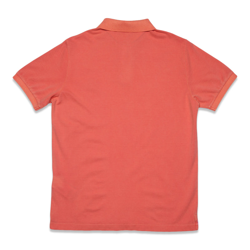 22S67 Cotton Pique Garment+Pigment Dye Polo Shirt - Orange Red