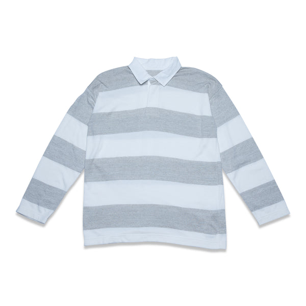 Extra Soft Twistless Yarn Knit Stripe Rugby Shirt - White