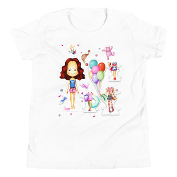 Girls Short Sleeve Paper Doll T-Shirt