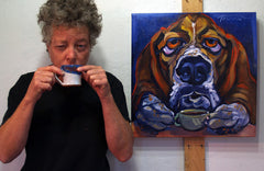 Connie with coffee and a painting
