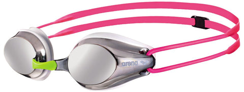 Arena Junior Racing Goggles Tracks Mirror Silver/White/Fuchsia - Clickswim.com