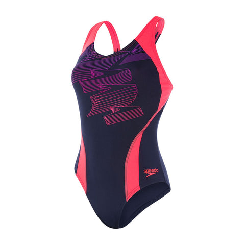 Speedo Womens Endurance + Boom Placement Racerback Navy / Psycho Red / Flash - Clickswim.com