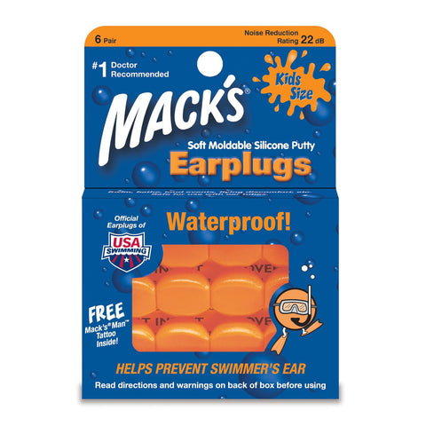 Macks PillowSoft Junior Silicone Swimming Earplugs 6 Pairs - Clickswim.com