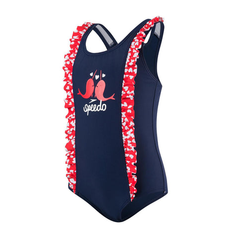 Speedo Infant Girls Endurance 10 Frill Suit Navy / Risk Red - Clickswim.com