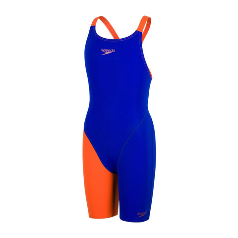 Speedo Junior Girls Swimwear Fastskin Endurance+ Openback Kneeskin Blue/Red - Clickswim.com