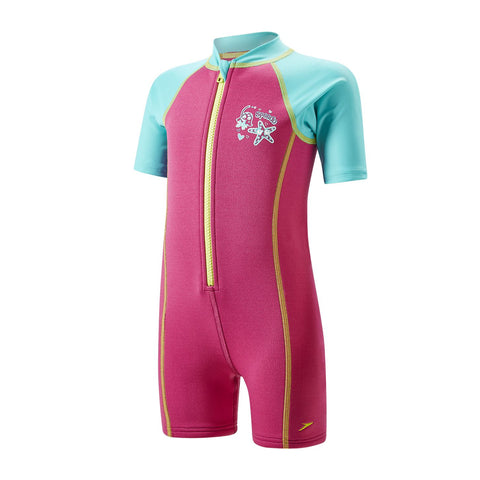 Speedo Infant Girls Sea Squad Hot Tot One-Piece-Suit Pink/Blue - Clickswim.com