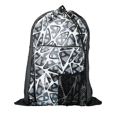 Speedo Ventilator Mesh Bag White/Black Design 35L - Clickswim.com