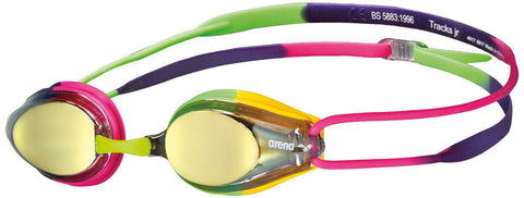 Arena Junior Racing Goggles Tracks Mirror Violet/Fuchsia/Green - Clickswim.com