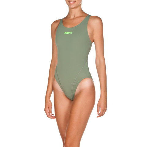 Arena Womens Solid Swim  Tech High Max Life Swimsuit Army/Shiny Green - Clickswim.com