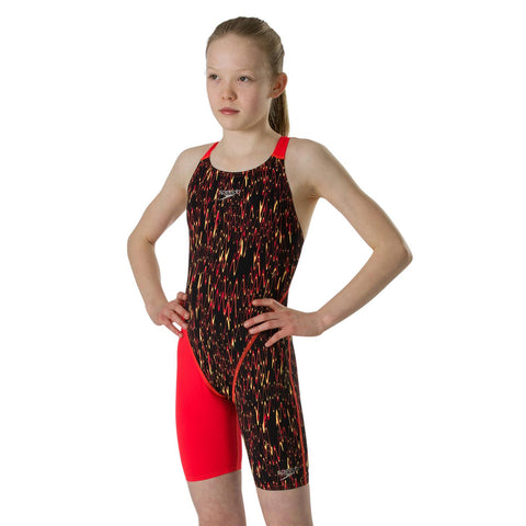 Speedo Endurance+ Kneeskin Girls Black/Lava Red/Papaya Punch - Clickswim.com