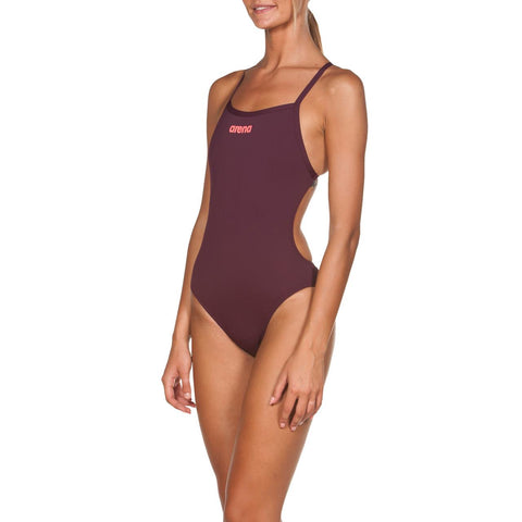 Arena Womens Solid Light Tech High Max Life Swimsuit Red Wine/Shiny Pink - Clickswim.com